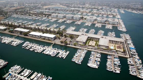 Aerial View of a Marina, Los Angeles, California wallpaper