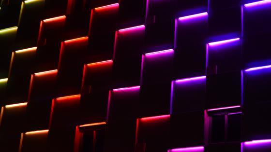 Neon building facade wallpaper