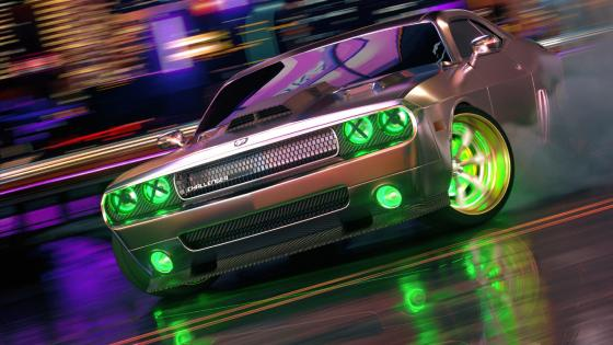 Dodge Challenger neon art wallpaper