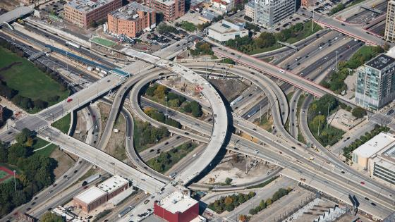 Aerial View of Construction on the Jane Byrne Interchange wallpaper
