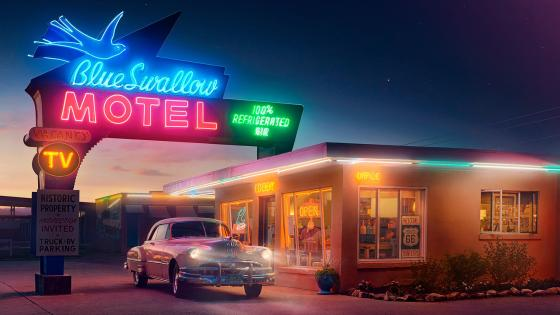 Blue Swallow Motel vintage photo wallpaper