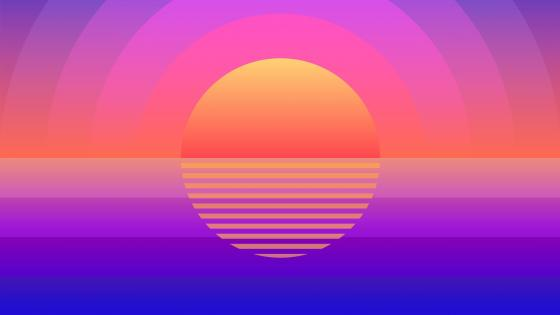 Retrowave summer time sunset wallpaper
