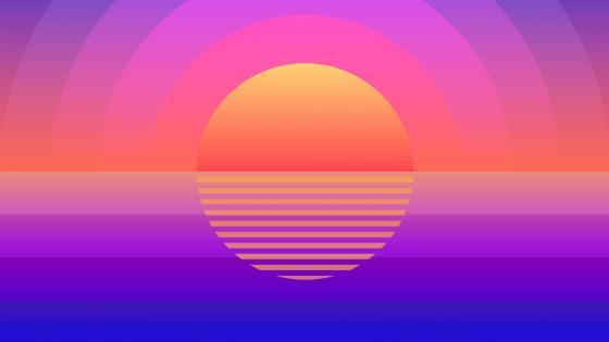 Retrowave summer time sunset wallpaper