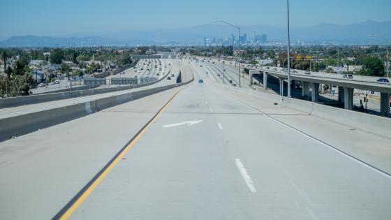 Driving on the Harbor Freeway wallpaper