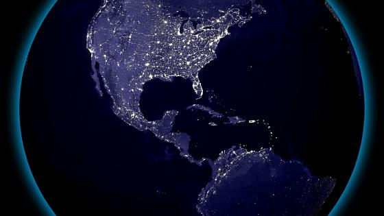Western Hemisphere's City Lights at Night wallpaper