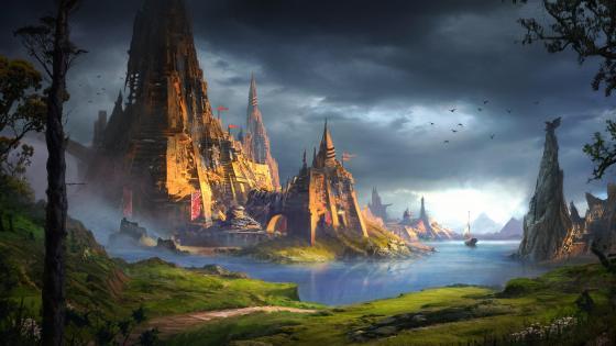 Fantasy castle ruins wallpaper