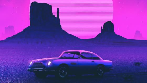Vintage car at Monument Valley Buttes wallpaper