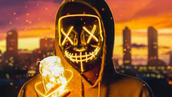 Neon mask guy with a light jar wallpaper