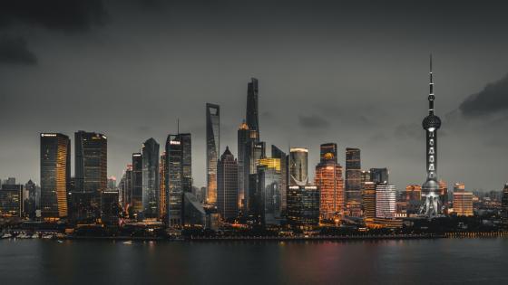 Shanghai at evening wallpaper