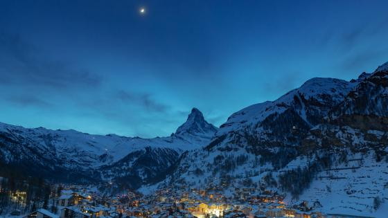 The Matterhorn and Zermatt at Dusk wallpaper