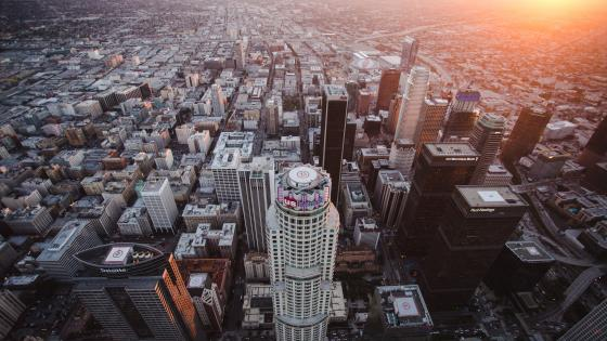Downtown Los Angeles Evening Cityscape wallpaper