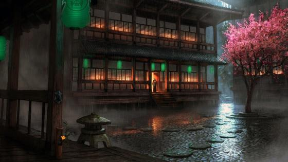 Japanese Architecture Under Heavy Rain wallpaper