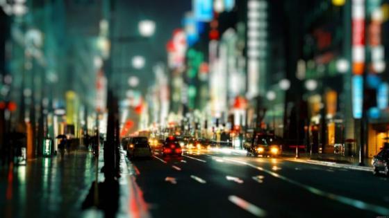 Bokeh street lights wallpaper