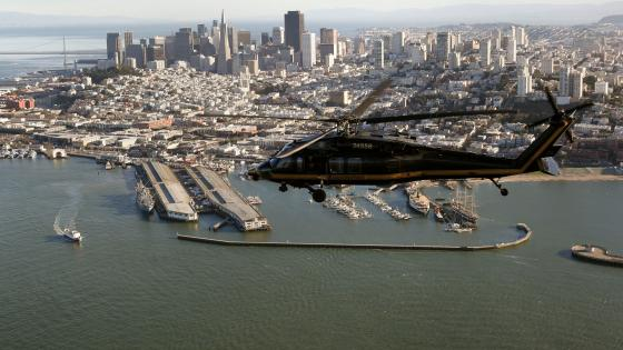 Black Hawk Helicopter Flies Over San Francisco wallpaper