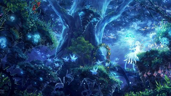 Anime Magical forest wallpaper