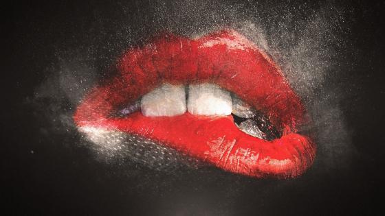 Red lips wallpaper