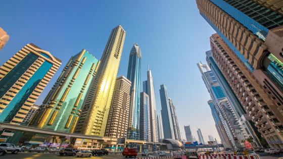 Skyscrapers along Sheikh Zayed Road in Dubai wallpaper