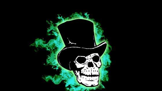 Skull wearing top hat wallpaper