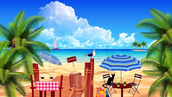 Fantasy Beach Cafe wallpaper