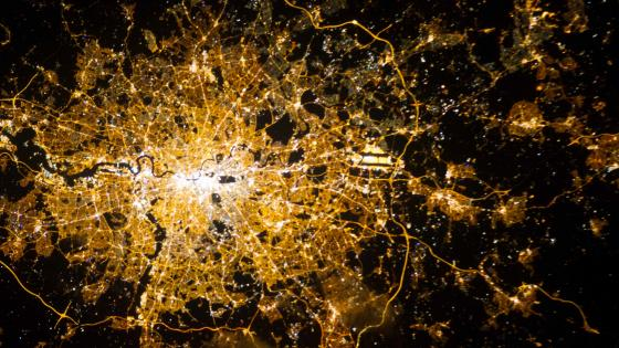 London, England Viewed from the International Space Station at Night wallpaper