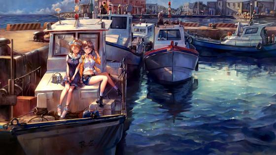 Anime Girls On The Yacht wallpaper