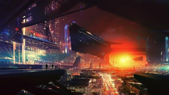 Science fiction cyberpunk city wallpaper