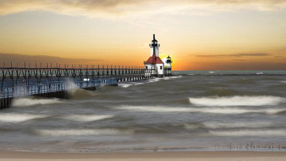 St. Joseph North Pier Inner Lighthouse wallpaper