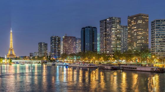 Front de Seine at Night wallpaper