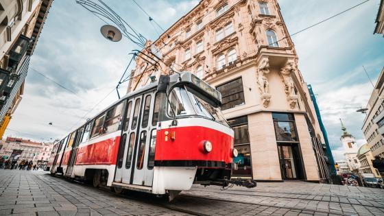 Old tram in Brno wallpaper