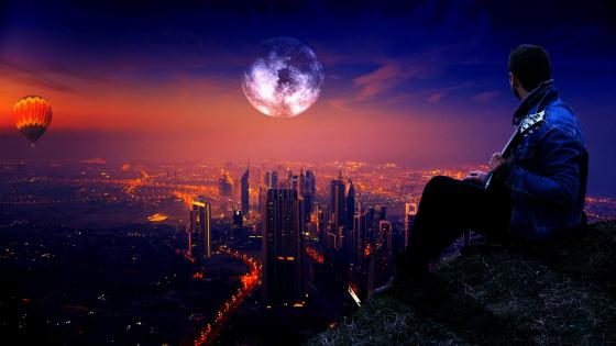 Looking At The City In Full Moon wallpaper