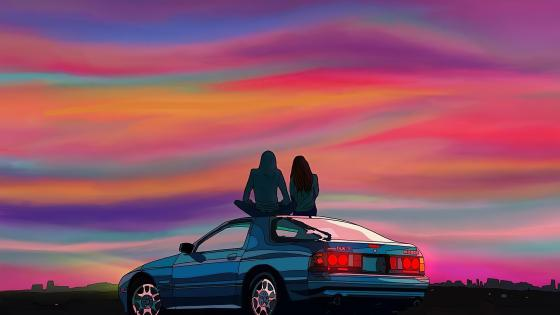 Couple Sitting On Car Evening Talks wallpaper