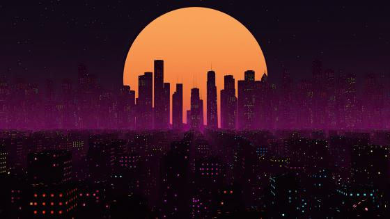 Retrowave City Sunset wallpaper