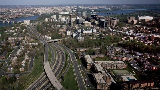 Distant View of Washington, D.C., from the Rosslyn High-Rise Neighborhood of Northern Virginia wallpaper