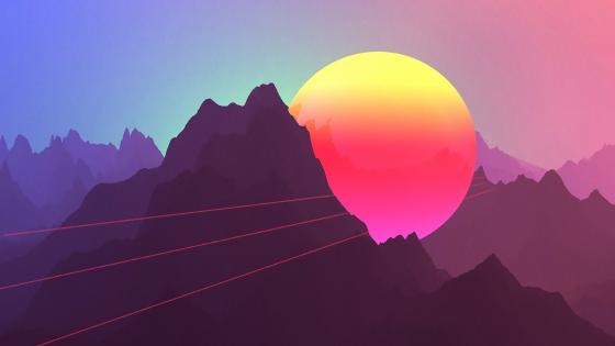 Retrowave 3-dimensional artwork wallpaper