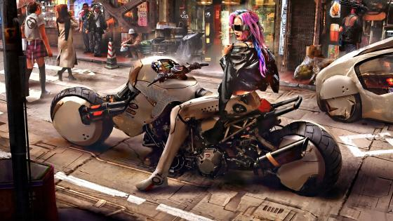 Cyberpunk Rider Girl wallpaper