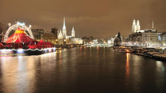 Zurich by night wallpaper