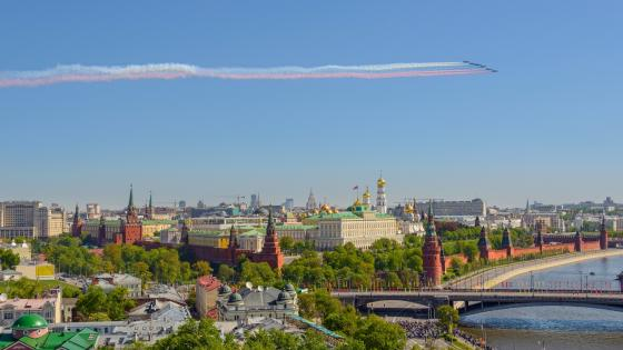 Moscow panorama with airshow wallpaper