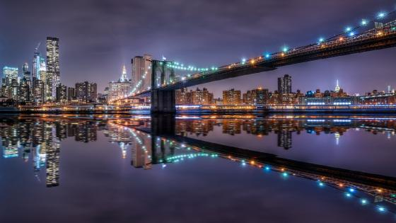 Brooklyn Bridge by night wallpaper