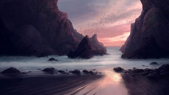 Purple digital seaside landscape wallpaper