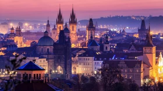 Prague by night wallpaper
