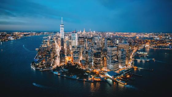 Manhattan evening skyline wallpaper
