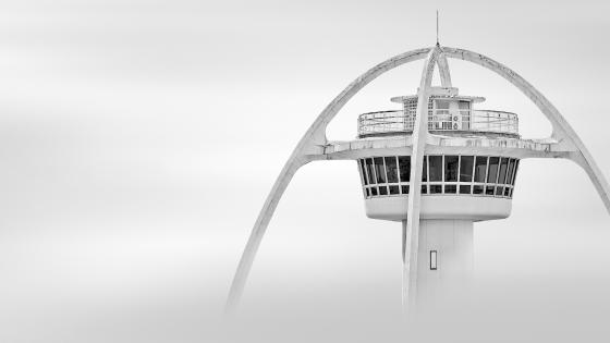 Airport management tower in fog wallpaper