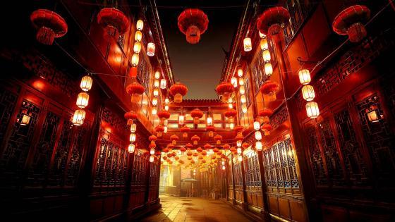 Street of Jinli by night wallpaper