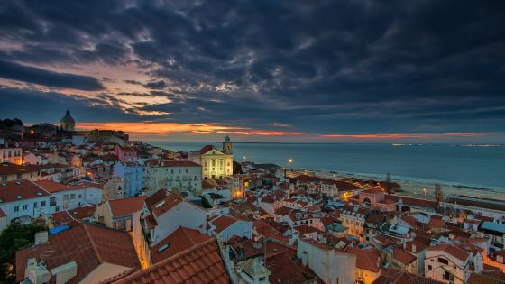 Sunrise at Lisbon, Portugal wallpaper