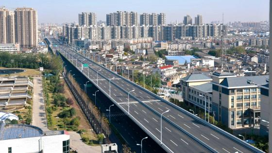 Empty Elevated Highway in Hefei, China wallpaper