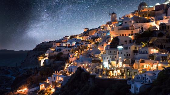 Santorini by night wallpaper