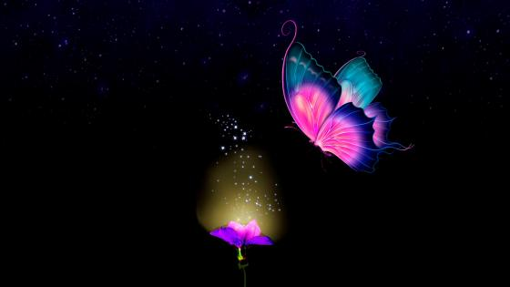Glowing butterfly wallpaper
