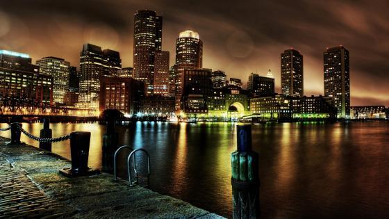 Boston by night wallpaper