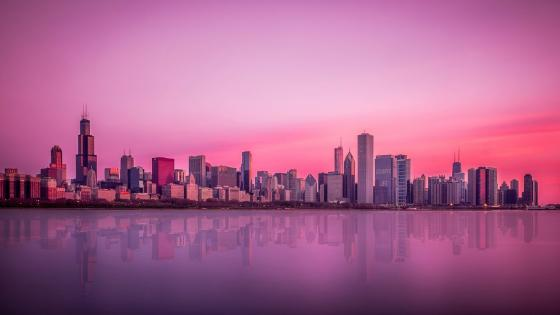 Pink sky above Chicago wallpaper