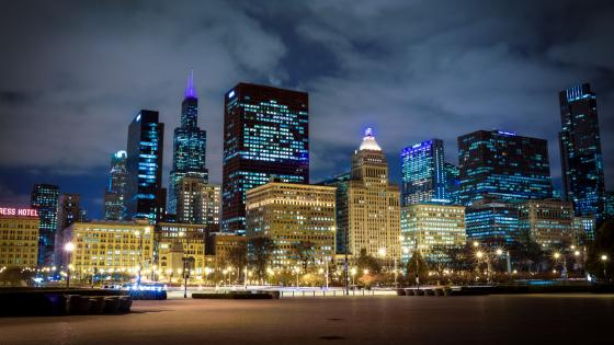 Chicago by night wallpaper